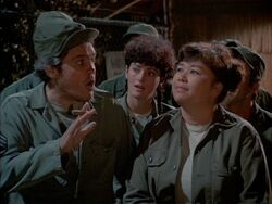 MASH episode - As Time Goes By - Rizzo with Nurses Shari and Kellye