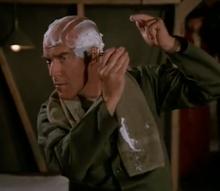 Colonel Wortman shaving