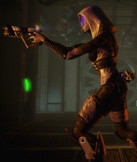 Quarian wielding a pistol