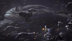 Дредноут гетов под огнем Мигрирующего Флота