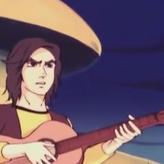 Duke playing a guitar