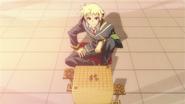 Zenkichi sets up a shogi board