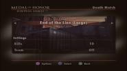 End of the Line Menu Screen
