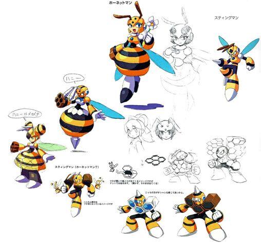 File:Mega Man 9 Concept Art - Hornet Man and Honey Woman.jpg