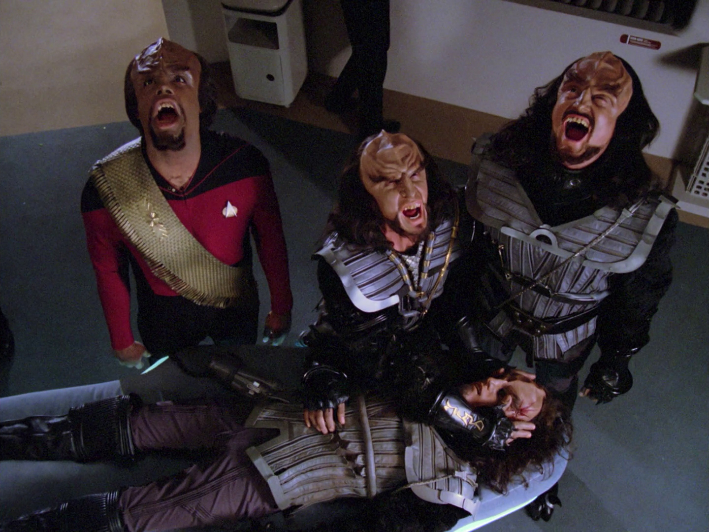 Lt. Commander Worf and other Klingons perform the Klingon death ritual in Star Trek: The Next Generation.