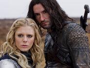 Merlin season 3 - Emilia Fox is Morgause and Tom Ellis is King Cenred