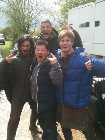 File:Eoin Macken Tom Hopper Bradley James and A Fan Behind The Scenes Series 5.jpg