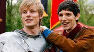 Arthur Pendragon Bradley James and Merlin Colin Morgan