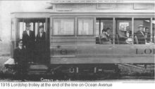 1918 LORDSHIP-BRIDGEPORT TROLLEY AT OCEAN AVE. TERMINUS