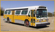 Identical bus with yellow-gold color scheme (entire bus frame) - Chestnut Hill Bus Corp. Bpt. CT