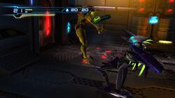 Samus Cyborg Zebesian battle Pyrosphere HD.jpg