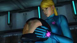 Samus Zero Suit Adam's Helmet hold Bottle Ship Control Room Main Sector HD