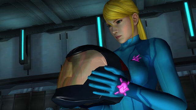 File:Samus Zero Suit Adam's Helmet hold Bottle Ship Control Room Main Sector HD.jpg