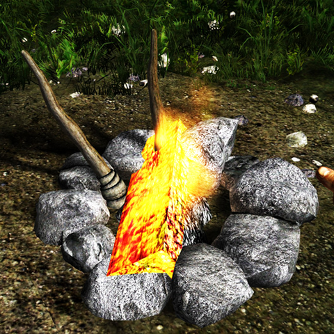 File:Camp fire with log and torches.png