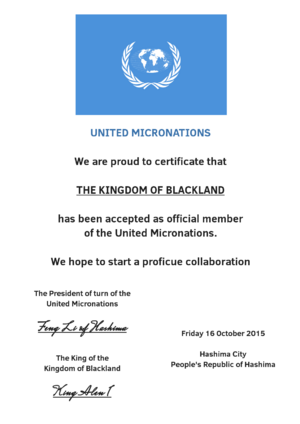 United Micronations Certificate of Blackland