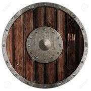 13402164-Old-viking-wooden-shield-isolated-on-white-Stock-Photo