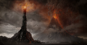 Barad-dûr and Mount Doom