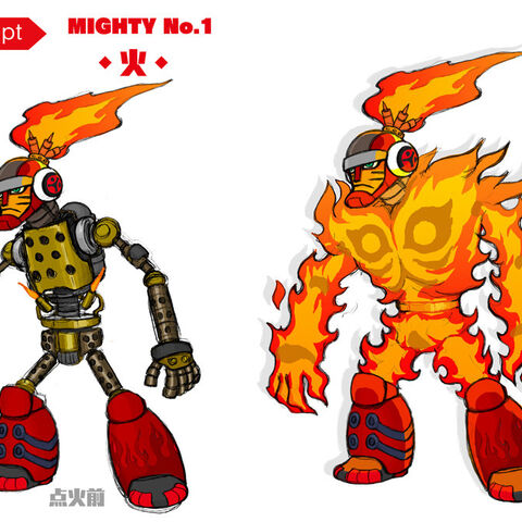 Character design art for ignited and unignited forms.