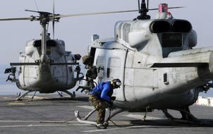 UH-1N tied down on USS Bataan