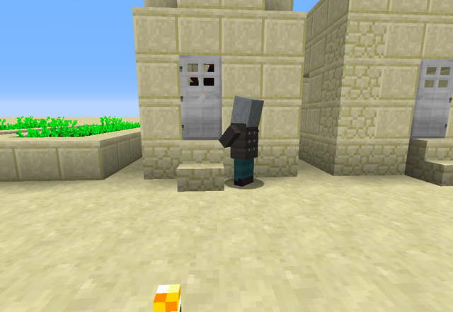 File:A Vindicator Looking at the Villager.png