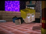 Lucas being pushed out of the nether portal