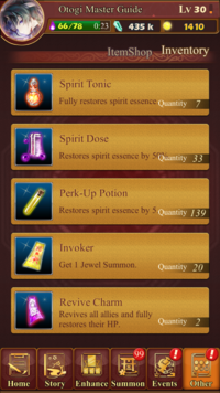 Items page