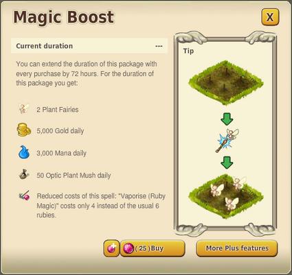 Magic boost menu