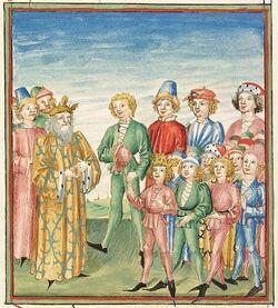 Spätmittelalterliche Trachten bei Pontus und Sidonia (Cod. Pal. germ. 142, S.10v) um 1475
