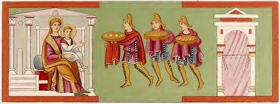 Drei Könige, Evangeliar München 780-850, trachtenkunstwer01hefn Taf.012a