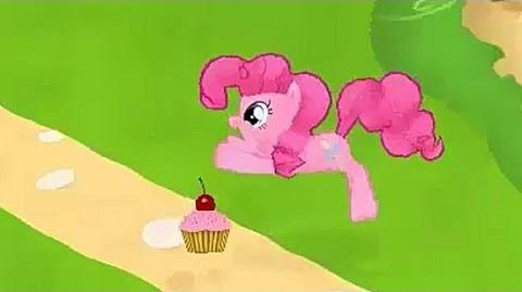 Pinkie Pie eating a Cupcake. My Little Pony Friendship is Magic, Gameloft.