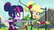 Applejack teaches Twilight how to shoot an arrow EG3
