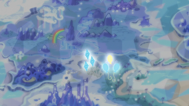File:Pinkie and Rarity's cutie marks drift over the map S6E12.png