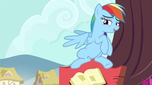 File:Rainbow sitting on a post sign S04E18.jpg