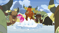 Rutherford and yaks agreeing with Pinkie Pie S7E11