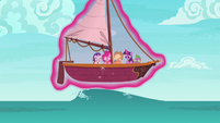 Twilight levitates the boat over a swell S6E22