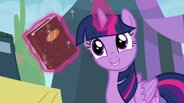 File:Twilight with book she got the day she met Pinkie S4E22.png