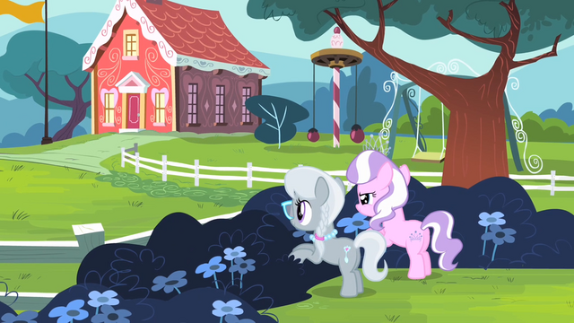 File:Diamond Tiara and Silver Spoon hiding behind the bushes S4E05.png