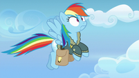 Rainbow Dash startled by her glowing cutie mark S6E24
