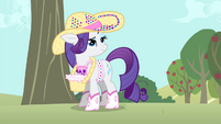 Rarity listening to Applejack talking S4E13