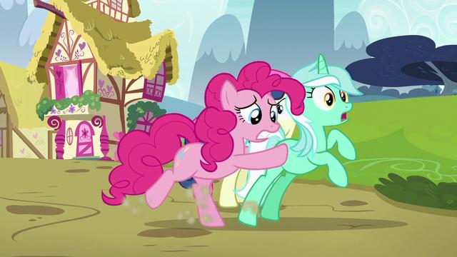File:Pinkie Pie shoving Lyra toward Maud S7E4.png