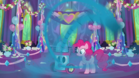 Pinkie Pie vacuuming the dining hall S7E1