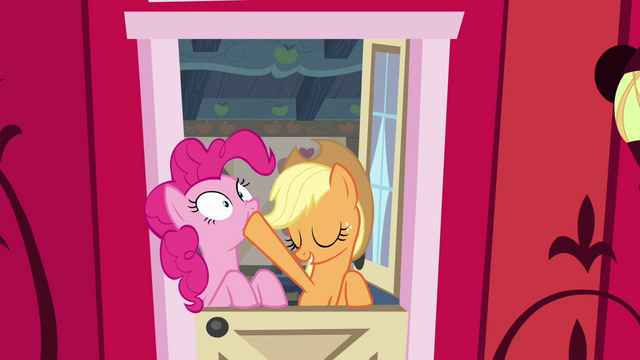 """File:AJ and Pinkie """"that was rhetorical"""" S4E09.png"""