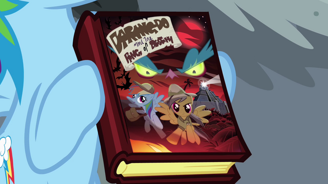 File:Rainbow Dash holding Daring Do book S04E04.png