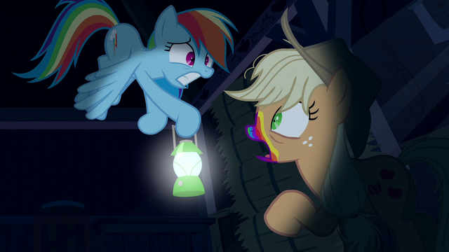File:Rainbow scared of zombie Applejack S6E15.png