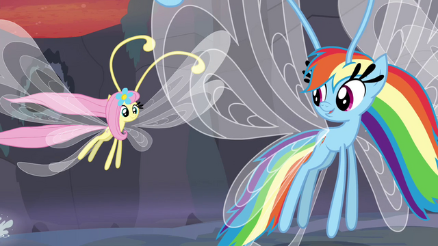 File:Breezie Fluttershy and Rainbow flying away S4E16.png