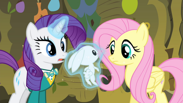 File:Rarity levitating Angel in front of Fluttershy S4E14.png