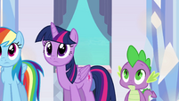 Twilight and Spike hearing Sunset's story EG