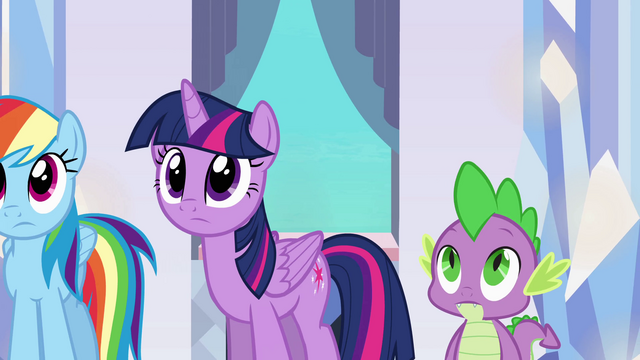 File:Twilight and Spike hearing Sunset's story EG.png