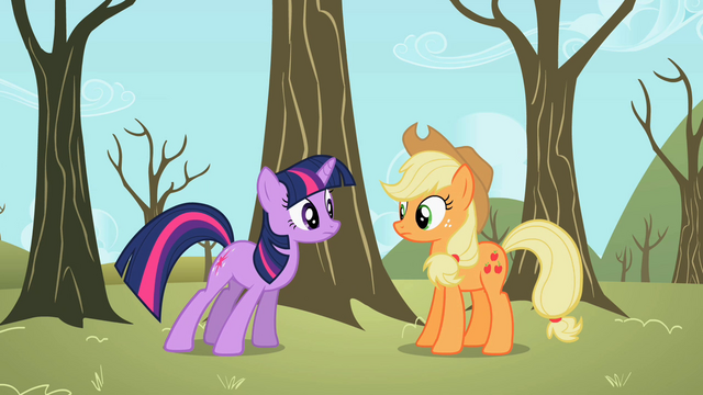 File:Twilight telling Applejack about Spike S2E10.png
