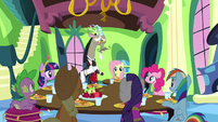 Main cast and Discord around the dinner table S03E10